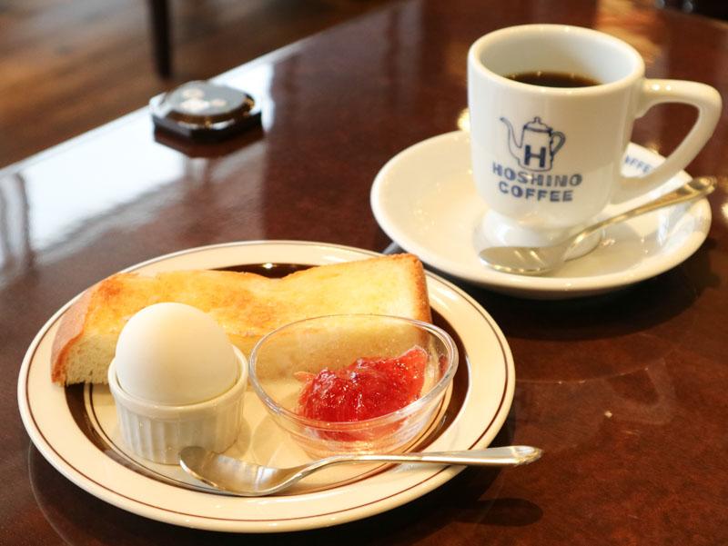 星乃珈琲の「無料モーニングサービス(トースト&ゆで卵)」